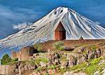 Khor Virat Armenian Apostolic Church monastery with Mount Ararat in Turkey looming behind it.