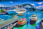 Australia: Sydney Circular Quay with ferries and cruise ship Oriana and Harbour Bridge