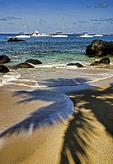 BVI: Sailboats offshore at The Baths beach on Virgin Gorda