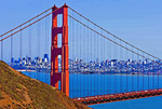 San Francisco skyline with Golden Gate Bridge.