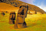Chile: Rano Raraku moai with quarry in background on Rapa Nui (Easter Island)