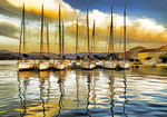Croatia: Krapanj Island waterfront marina on Adriatic coast