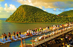 Dominica: Caribbean cruise ship Celebrity Dynasty in evening light