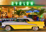 Classic car at the Avalon on South Beach, Miami Beach, Florida, USA.