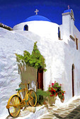 Greece: Old bicycle along wall of Greek orthodox church in Parikia on island of Paros
