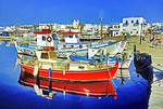 Greece: Fishing boats at Naoussa harbor on Island of Paros
