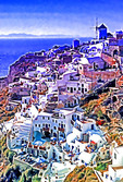Greece: Town of Oia on north end of Island of Santorini