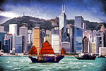 Hong Kong skyline with tourist junk Duk Ling