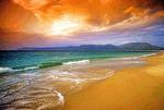 Hainan Island's Yalong Beach at dawn on tropical South China Sea coast