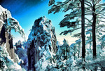 Huangshan (Yellow Mountain), Anhui, China: Begin to Believe Peak and pines with fresh winter snow.
