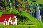 Waterfall on farm in Thorsmork Valley Iceland
