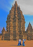 Siva Temple towers over 9th century Prambanan Hindu Temple complex near Yogyakarta, Indonesia