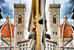 Italy: The Duomo, Basilica di Santa Maria del Fiore and Giotto's Bell Tower, in Florence with reflection in shop window