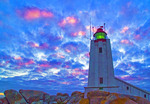 South Africa: Cape Columbine lighthouse on Atlantic coast near Paternoster.  --Digital Photo Art Painting