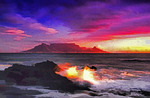 South Africa: Cape Town and Table Mountain from Bloubergstrand in last light of day