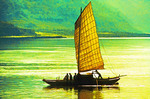 Yangtze River junk or sampan under sail near the Three Gorges
