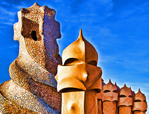 Spain: Antoni Gaudi sculpture on roof of La Pedrera Museum in Barcelona