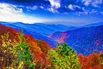 Great Smoky Mountains National Park overview from Newfound Gap Road on autumn morning.