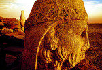 Head of Zeus with Antiochus in background on eastern terrace of Nemrut Dagi (Mount Nimrod) at dawn