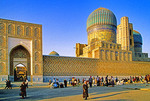 Samarkand's Registan Square from side with market