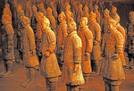 Xian, China:  Terra cotta soldiers from excavations of Emperor Qin Shi Huang tomb, Qin Shi Huangdi Museum