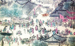 "Detail of ""Along the River During the Qingming Festival"" scroll in the Imperial Palace Museum, Beijing."