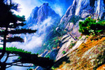 Huangshan (Yellow Mountain): Mists on front of Lotus Flower Peak (Lianhua Feng) on front side of mountain