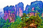 China: Zhangjiajie National Forest Park view from Yellow Stone Stronghold (Huangshizhai) in Hunan province