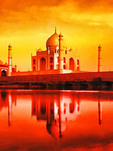 Agra, India: Taj Mahal reflecting in the Yamuna River