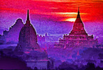 Bagan, Myanmar (Burma): Sunrise over holy temples on Bagan Plains