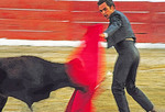 Young matador bullfighting in Puerto Vallarta, Mexico.