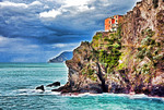 Italy: Cinque Terre National Park, rocky cliff at Manarola on Ligurian Coast of Mediterranean Sea