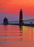 Grand Haven, Michigan, lighthouse on Lake Michigan.