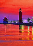 Grand Haven, Michigan, on Lake Michigan, lighthouse at sunset.