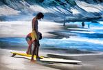 Rio de Janeiro surfers on Gavea Beach.