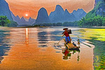 Sunset on Li River near Xingping (Guilin area), Guangxi, China.
