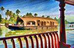 Houseboat with two cabins for passengers cruising the tropical Kerala Backwaters on the Malabar coast of South India.