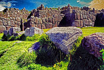 Inca Walls of Sacsayhuaman Fortress ruin at Cuzco, Peru.