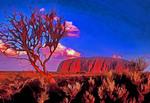 Uluru (Ayers Rock) sandstone monolith in outback of Northern Territory, Australia.