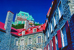 Canada: Chateau Frontenac Hotel above Old Quebec City Musee de l'habitation in lower town.