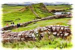 Milecastle 42 of Hadrian's Wall Roman ruin at Cawfields quarry in Northumberland National Park.