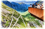 Scenic observation platform overlooking Trollstigen (Troll's Ladder) switchback mountain road in Norway's Romsdal Alps
