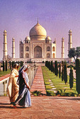 India: Taj Mahal with women in traditional saris.