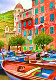 Italy's Cinque Terre National Park, boats at Vernazza waterfront.