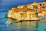 Dubrovnik Old Town on Dalmatian Coast of Adriatic Sea.