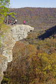 Hikers on Hawksbill Crag at Whittaker Point in the Upper Buffalo Wilderness Area of the Ozark Mountains.