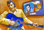 Elvis Presley statue in lobby of motel next to Graceland in Memphis, Tennessee.