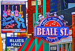 Beale Street Blues signs in Memphis, Tennessee.