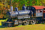 Steam Locomotive 201 of the Eureka Springs & North Arkansas Railway ia a 1906 Alco 2-6-0 from the Moscow, Camden, and Saint Augustine that is no longer in operation, Eureka Springs, Arkansas.
