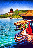 Dragon boat on Kunming Lake of the Summer Palace in Beijing, China.